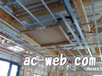 天井埋込形 機器吊下げ工事風景